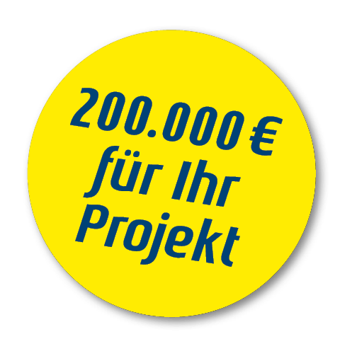 Störer in gelb: 200.000 EUR für Ihre Projekt